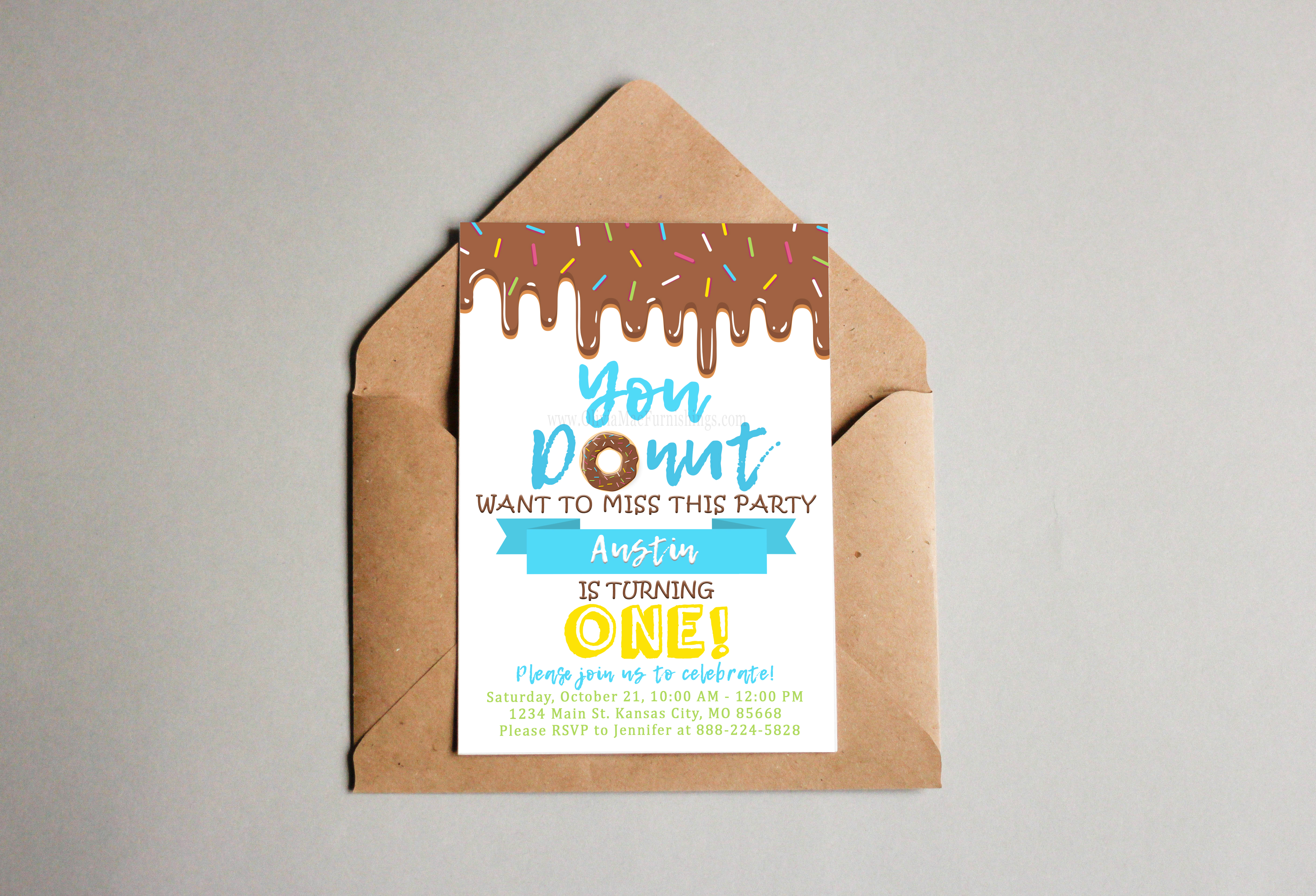 Brown Donut Birthday Party Invitation Party Pack - Instant Download ...