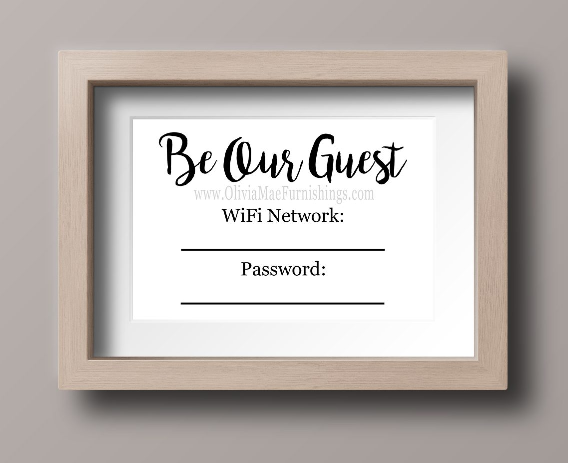 image about Be Our Guest Printable identify Be Our Visitor WiFi Pword - Fast Obtain Print